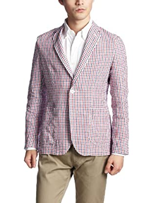 Linen Plaid 2-button Patch Pocket Jacket 3122-199-0353: Red
