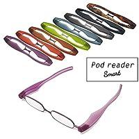 【ポッドリーダー スマート】超軽量 コンパクトな折りたたみ式 老眼鏡 8色 +1.0~+3.0 胸ポケットに入るサイズ Podreader (+2.5, パープル)