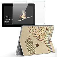 Surface go 専用スキンシール ガラスフィルム セット サーフェス go カバー ケース フィルム ステッカー アクセサリー 保護 ラブリー 音符 鳥 カラフル 005964