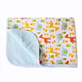 Baby Reusable Diaper Changing Pad for Home and Travel,Portable Waterproof Urine Mat Packing of 1 (L (27.56 x 39.37 Inch), Frog & Giraffe)