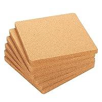 6パックコルク五徳セット–Square Corkboardプレースマットキッチンホットパッドのホットポット、鍋、and Kettles, 7x 7x 0.5インチ