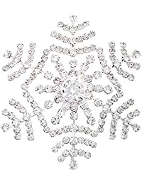 Lanxy Winter Snowflake Clear Austrian Crystal Brooch Pin for Women