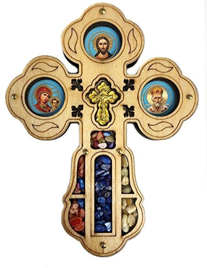 祝福する透明に権限壁のKazanのアイコンクロスCrucifixionバージンChristクリスタルIncense 5 5 / 8インチ
