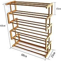 シューズラック- 靴ラックソリッドウッドシンプルな収納キャビネット家具クリエイティブなシンプルさバンブーオーガナイザーシェルフ4段/ 5段/ 6段(Sタイプ) (サイズ さいず : 6 tier)