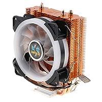 AMD AM2 AM2 + AM3ラジエーター12V 3ピン用3線式デスクトップコンピューターCPUヒートシンクファンLEDフィン冷却キット-低ノイズ