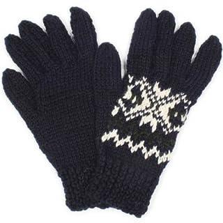 Handknitted Gloves SM07FB: Navy / Green