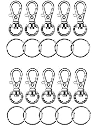 HOMYL 20 Pieces Metal Alloy Key Chain Rings Swivel Clasps Lanyard Snap Hook Lobster Claw Clasps & Split Key Rings for Jewelry Findings Making Craft Supplies