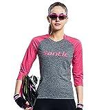 Hi9 Store Santic レディース サイクルジャージ 反射テープ付きUVカット女性用 自転車 ウェア 半袖 長袖 ピンク (XXL, 半袖)