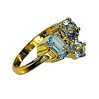 Jewelryonclick ゴールドメッキ ブルートパーズ キュービックジルコニア リング レディース ファッションジュエリー ギフト サイズ 4、5、6、7、8、9、10、11、12