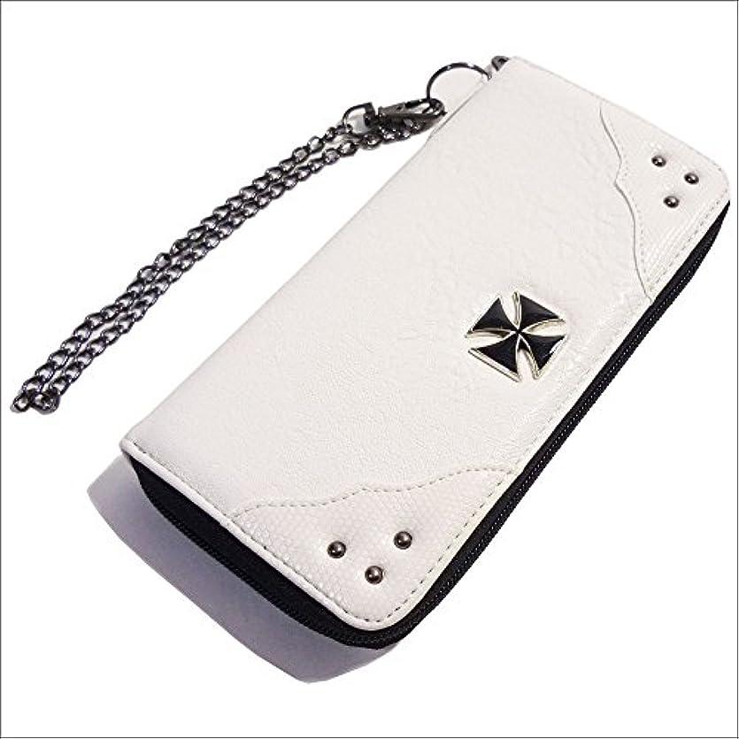 スクランブル鍔資本QUINTETTO アイアンクロス 鉄十字 ロング ウォレット 財布 03-ml-0182-y (WHITE(ホワイト))
