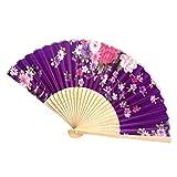 グッズセンター レディース扇子 絹 シルク ダンス扇子 ビンテージ 花柄 プリント折りたたみハンドファン歌舞伎小物 茶扇 飾り