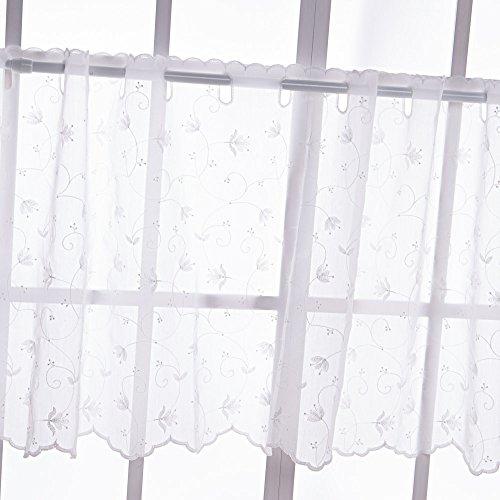 Baibu(バイブ) カフェカーテン 遮光 北欧 刺繍入り 花柄 カーテン 目隠し 小窓用 カフェカーテン レース (ホワイト45*110cm )