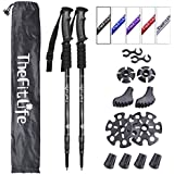 TheFitLife Nordic Walking Trekking Poles - 2 Packs with Antishock and Quick Lock System, Telescopic, Collapsible, Ultralight for Hiking, Camping, Mountaining, Backpacking, Walking, Trekking