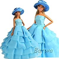 「Barwawa」バービー 服 ドレス ドール用 人形用 アクセサリー ジェニー きせかえ プリンセスドレス 手作り 1/6ドール用 帽子付き