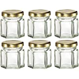 Plant Therapy 1.5 oz Mini Hexagon Glass Jars used for Magnetic Spice Rack, Honey, Candles, Jam, Gifts and More! Pack of 24 Jars