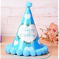 HuaQingPiJu-JP 誕生日パーティー用品大きなハート型コーン帽子リトルソフトボールCap_Blue