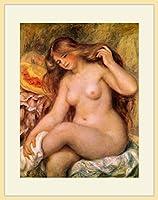 ルノワール・「足を組む裸婦と帽子」 プリキャンバス複製画・ 額付き(デッサン額/大衣サイズ/木地色)