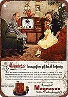 Shimaier 壁の装飾 メタルサイン 1951 Edgar Bergen for Magnavox TV ウォールアート バー カフェ 縦20×横30cm ヴィンテージ風 メタルプレート ブリキ 看板