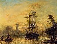 手描き-キャンバスの油絵 - Rotterdam ship シービューペインティング RSSP2 Johan Barthold Jongkind 芸術 作品 洋画 ウォールアートデコレーション -サイズ17