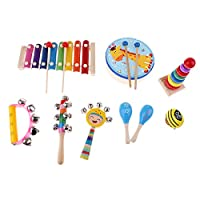Fenteer 木製 子供 楽器おもちゃ IQを開発 パーカッション ドラム ベル 贈り物 全4選択 - 9個