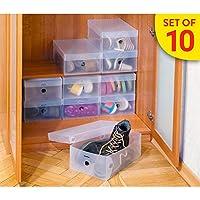 Tatkraft Glasgow Set of 10 Transparent Shoe Boxes Ribbed Strong Plastic