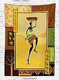 HERMES スカーフ ブラウン African装飾フリーススローブランケットエスニックGirl DancingエキゾチックズールーCultural図TribalファッションArtsyデザインスロー毛布オレンジブラウン 59W x 78.7L Inches MTS62101050K150XG200