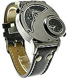 お洒落度120% Oulm アナログ式 デザイナー腕時計 ブラックベルト