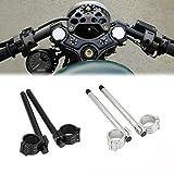 【ノーブランド 品】耐久性 オートバイ アルミ 代替品 ハンドル バー ハンドル グリップ 調整可能 フォーク径31mm 汎用 ブラック 2個