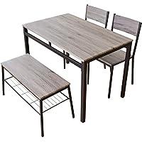 (DORIS) ダイニングテーブル 4点セット ベンチ 【スクエア ブラウン】 テーブル&チェア&ベンチ 4人掛け 幅:110cm 組み立て式