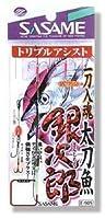 ささめ針(SASAME) 一刀入魂 太刀魚銀次郎トリプルアシスト ワームフックストレート黒/トリプルフック白 M E-905