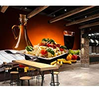 Chunxd 壁紙ドリンク野菜ハイボールグラスパスタ食品壁紙、ファーストフードショップレストランダイニングルームキッチン壁画-350X250Cm