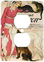 3drose LLC lsp _ 149169_ 6Vintage Art Nouveau Clinique Cheronパリフランスポスター2プラグコンセントカバー