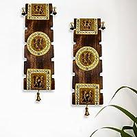 ExclusiveLane Dhokra & Warli Handpainted Wooden Wall Hangingセット–Indian装飾アイテムのホームギフトアイテム木製壁アート装飾壁吊り下げ装飾リビングルーム素朴なDiwali GiftホームDÃcor