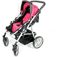 2-1 Pink Babyboo Doll Stroller for Girls Ages 2+ - Doll Stroller for Toddlers and Girls - Adjustable Handle and Folds for Storage - View All Pictures -Best Doll Stroller Gift for Girls by The New York Doll Collection