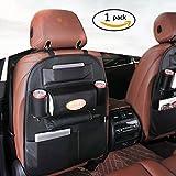 Yoaidoo シートバックポケット カー後部座席収納 車載シートバックポケット 多機能 車ドリンクホルダー 車用品 収納ポケット 取付簡単 小物入れ レザー製 ブラック