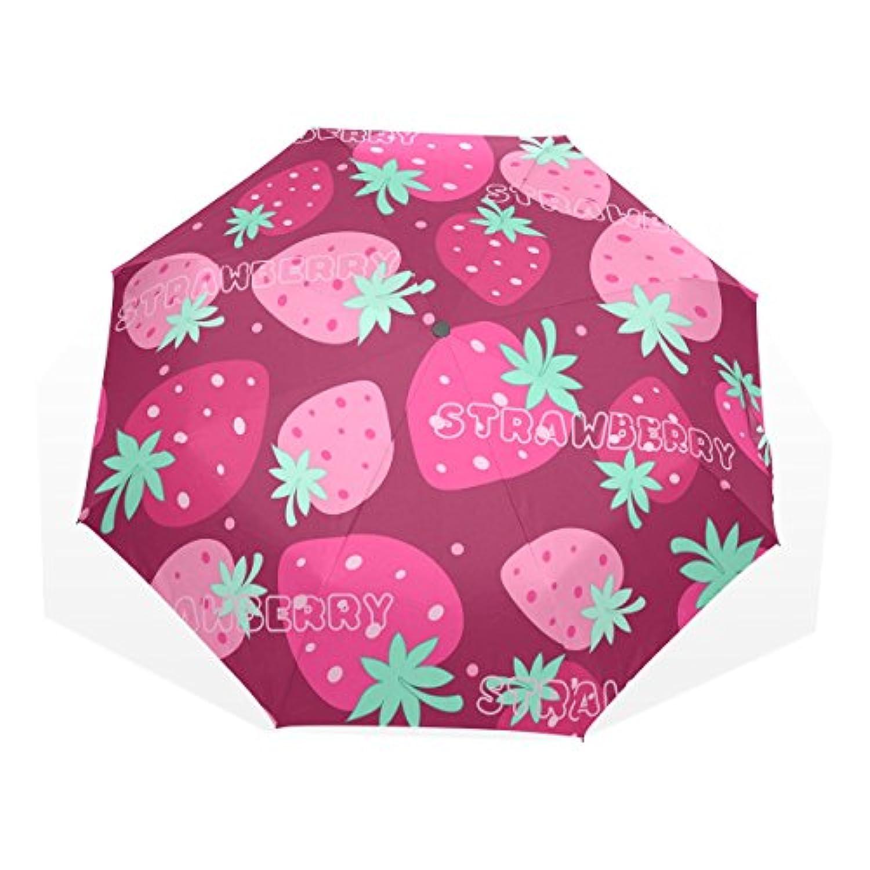 UKIO(ユキオ) 折りたたみ傘 軽量 レディース いちご おしゃれ 晴雨兼用 手動開閉 傘 日傘 収納ケース付
