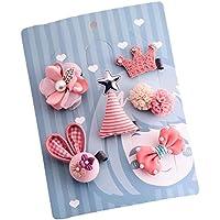 かわいい ベビー用 ヘアークリップ コサージュ ヘアピン6点セット  出産祝い 内祝い ギフト (ピンク系)