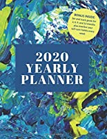 """2020 Yearly Planner: 8.5x11"""" Yearly Self-Care and Goal Tracking Yearly Planner (blue acrylic)"""