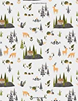 Nordic Forest Lined Notebook: Large (8.5 x 11 inches) - 120 Pages - Deer and forest animal pattern notebook