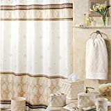 "DS BATH Corinthia Beige Diamond Shower Curtain,Mildew Resistant Polyester Fabric Shower Curtain,Print Shower Curtains Bathroom,Contemporary Decorative Waterproof Bathroom Curtains,62"" W x 78"" H"