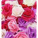 【glaystore】 バラ 造花 ローズ 薔薇 アレンジ 8センチ 50個セット 結婚式 2次会 パーティー ブライダルイベントに (レッド×ピンク×ライトピンク×ライトパープル×ホワイト)