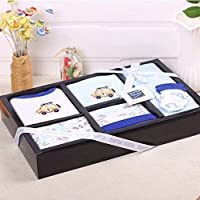 HUGMO 100% Pure Cotton 8 Piece Blue Car Motif Romper Gift Set - Brand: Turtle Touch