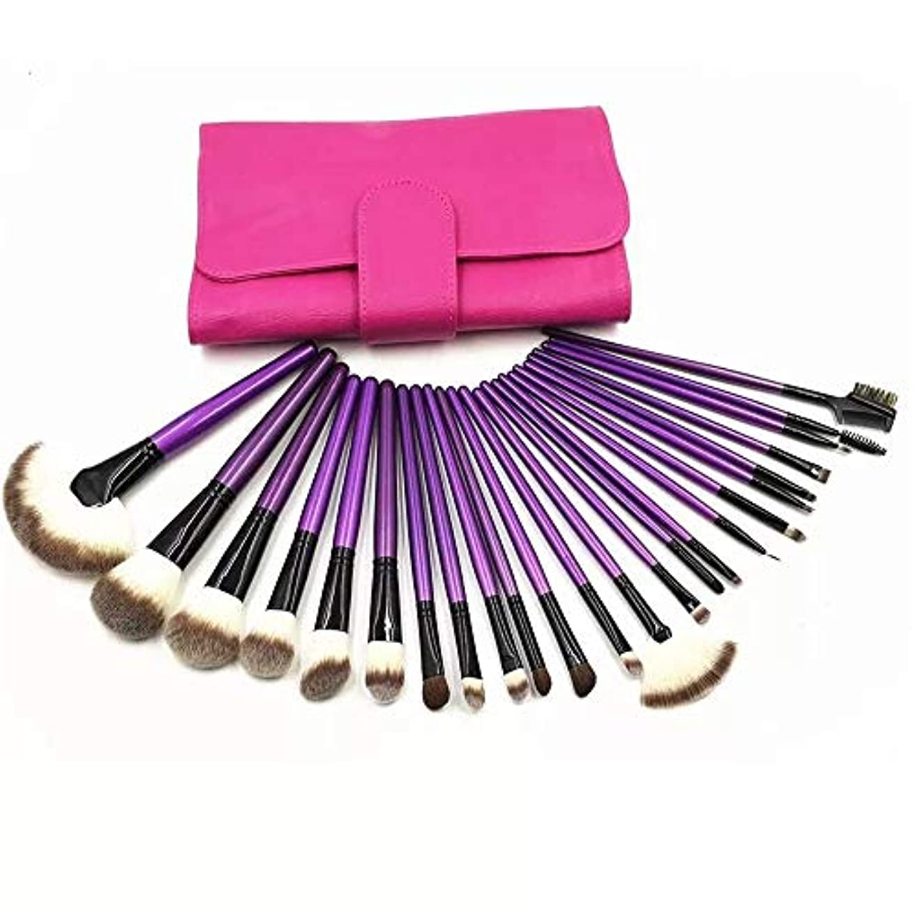 通知固有のトレーニングMakeup brushes 多様性に富んだ完璧な使用、あなたの必要性を許すために保護袖が付いている24の専門の構造のブラシの場所 suits (Color : Purple)