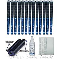 GolfTech 13 マルチコンパウンドラバーミッドサイズコードゴルフグリップ ブラック/ブルー 詳細な手順書付き 2インチ x 11インチ 両面テープ 溶液 ゴム製バイスクランプ