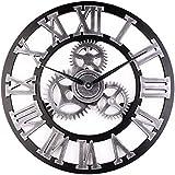 32インチローマ数字ウォールクロックヴィンテージギアウォールクロック大時計用リビングルームの家の装飾