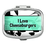 I 愛ハート Food - チーズバーガー - 長方形ピルボックス