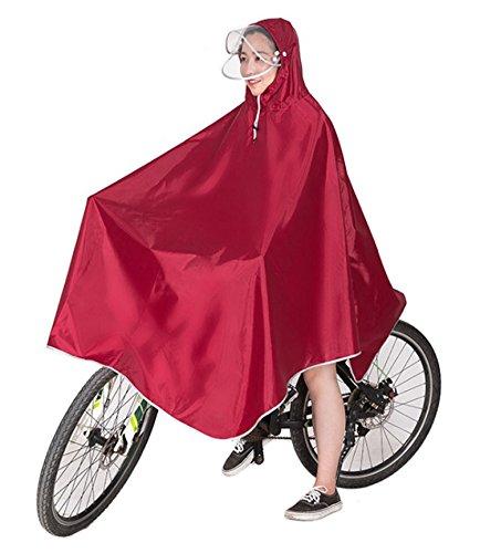 Ribution レインコート ポンチョ 雨具 厚手生地 ダブルバイザー 安全反射シート 収納袋付 男女兼用 フリーサイズ ワインレッド