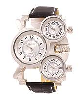 93f0283890 ShoppeWatchメンズビッグフェイス腕時計トリプルタイム表示クォーツホワイトダイヤルレザーバンドom-163
