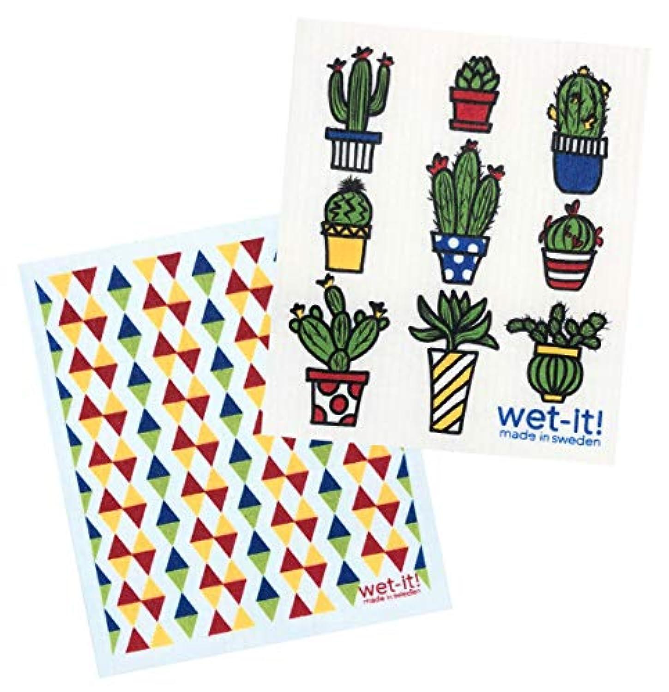 Wet-It! スウェーデンのふきんセット サボテンポット 大胆な三角形のセット