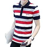 (ハイハート)Hiheart ポロシャツ メンズ 半袖 ラガーシャツ ボーダー柄 シャツ ゴルフウェア 通気性 吸汗速乾 大きいサイズ (M,レッド)